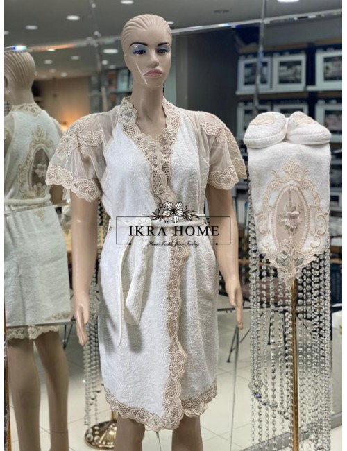 FLORANSA KREM Zebra Casa / Банный халат из 5 предметов 100% хлопок