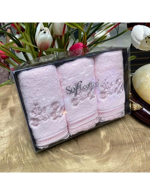 Полотенца «Luna pembe» (3 шт.) Soft Cotton 30Х50 см.