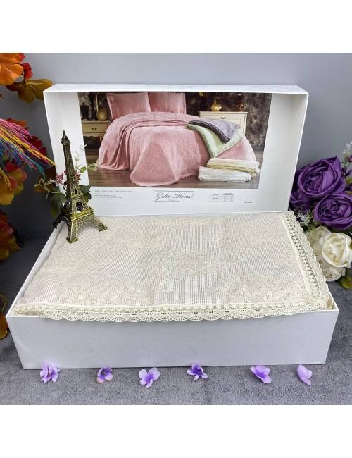 EMİRGAN  ŞAMPANYA pike Gelin Home   Набор с покрывалом 2-спальный Сатин Делюкс из 4-x предметов