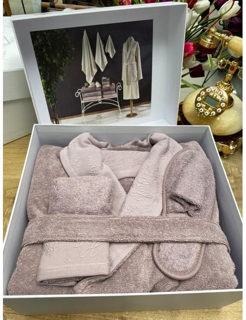 GELIN HOME LISA LILA / Подарочный банный набор Soft cotton (халат с полотенцами) Размер S/M