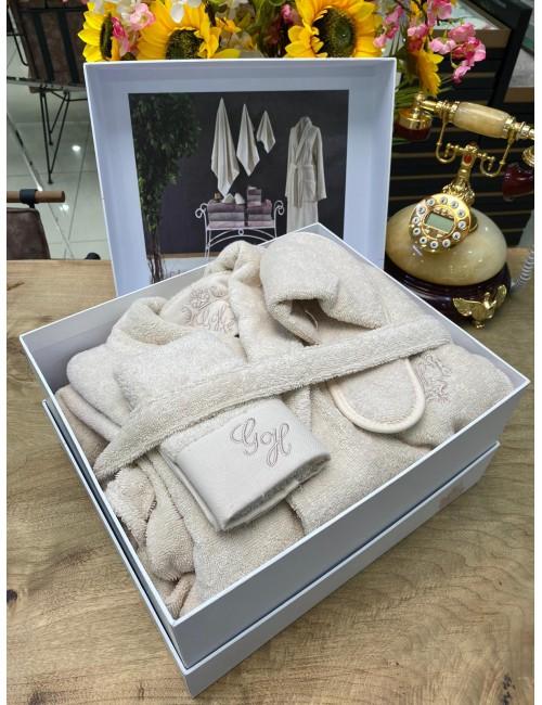 GELIN HOME LISA BEJ / Подарочный банный набор Soft cotton (халат с полотенцами) Размер L/XL
