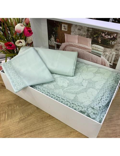 Yaprak SU YESIL pike Gelin Home | Набор с покрывалом 2-спальный Сатин Делюкс из 4-x предметов
