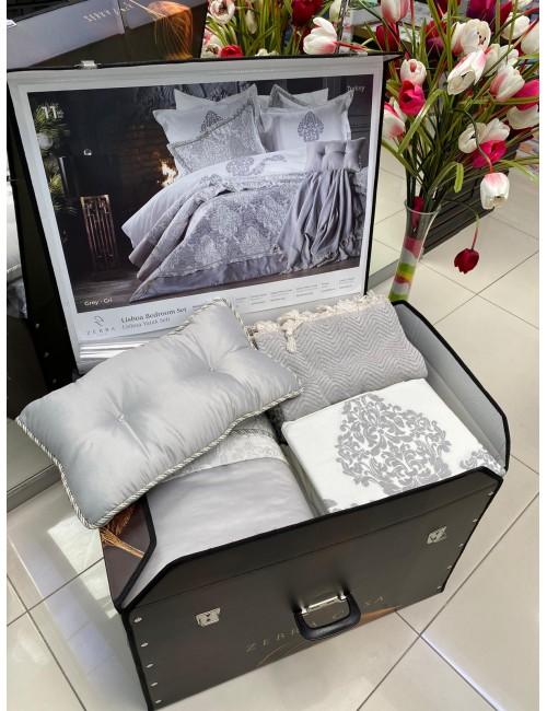 Zebra Casa - Lisboa (GRI) Шикарный набор КПБ c покрывалом и пике с бахромой Евро из 11-ти предметов