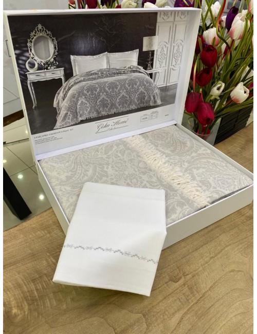 GELIN HOME TRUVA GRI | Комплект постельного белья с покрывалом/пике