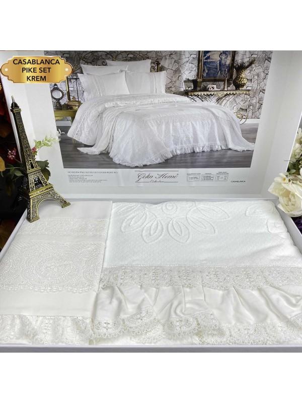 Casablanca krem pike Gelin Home | Набор с покрывалом 2-спальный Сатин Делюкс из 7-ми предметов