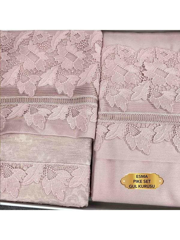 Esma Gul kurusu pike Gelin Home | Набор с покрывалом 2-спальный Сатин Делюкс из 7-ми предметов