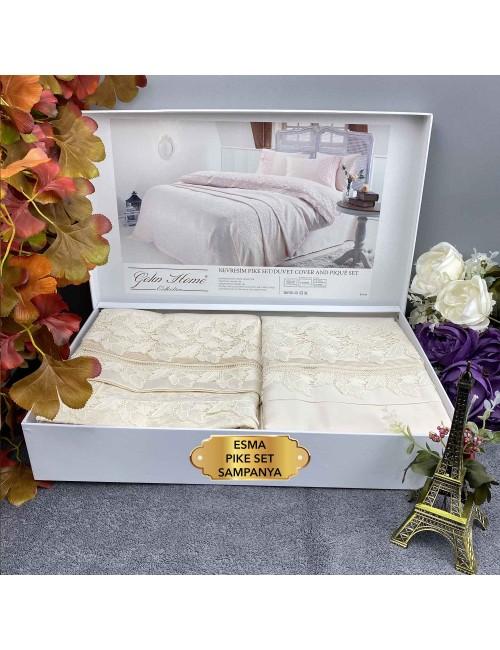 Esma sampanya pike Gelin Home | Набор с покрывалом 2-спальный Сатин Делюкс из 7-ми предметов