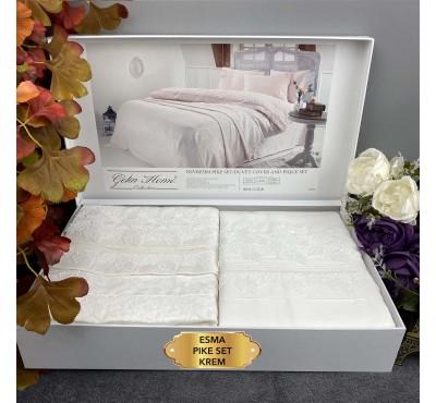 Esma Krem pike Gelin Home   Набор с покрывалом 2-спальный Сатин Делюкс из 7-ми предметов