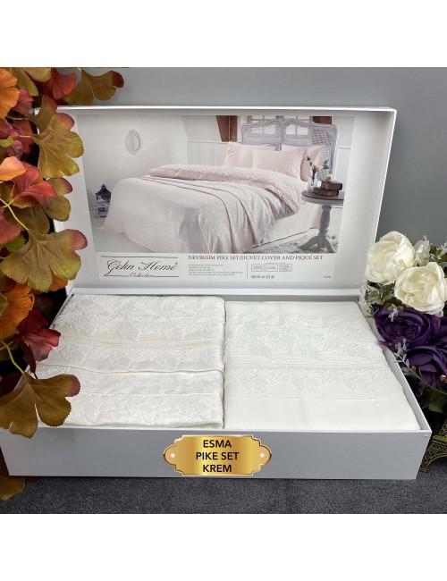 Esma Krem pike Gelin Home | Набор с покрывалом 2-спальный Сатин Делюкс из 7-ми предметов