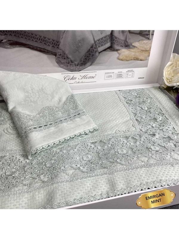 Emirgan Mint Gelin Home   Набор с покрывалом 2-спальный Сатин Делюкс из 9-ти предметов