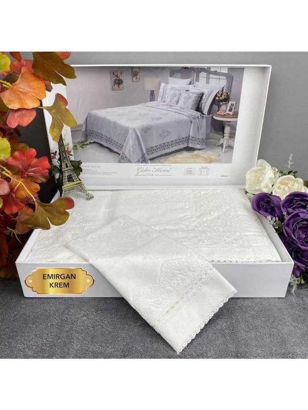 Emirgan krem Gelin Home | Набор с покрывалом 2-спальный Сатин Делюкс из 9-ти предметов