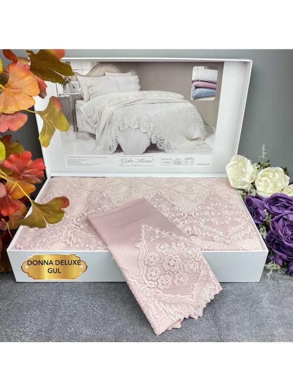 Donna Gul kurusu Gelin Home | Набор с покрывалом 2-спальный Сатин Делюкс из 7-ми предметов