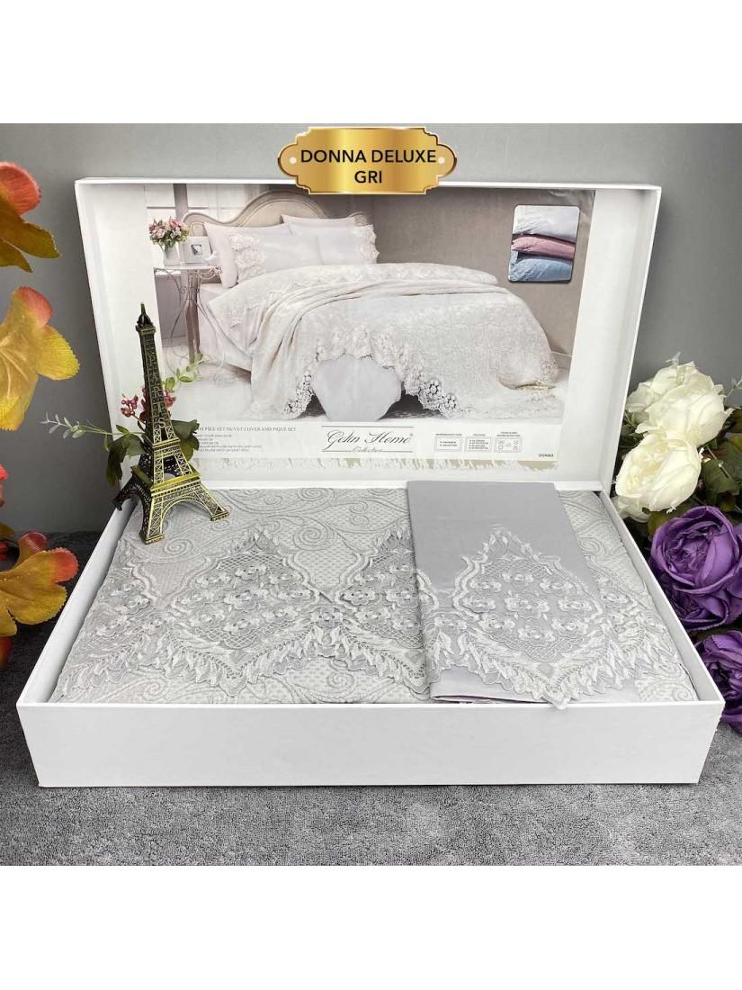 Donna gri Gelin Home | Набор с покрывалом 2-спальный Сатин Делюкс из 7-ми предметов
