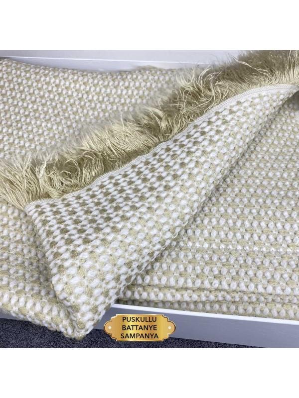 Puskullu Battanye Sampanye Gelin Home | Набор с вязаным покрывалом 2-спальный Сатин Делюкс из 4-х предметов