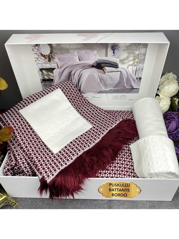 Puskullu Battanye Bordo Gelin Home | Набор с вязаным покрывалом 2-спальный Сатин Делюкс из 4-х предметов
