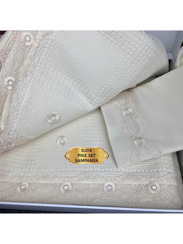 Sude krem Gelin Home   Набор с покрывалом 2-спальный Сатин Делюкс из 6-ти предметов