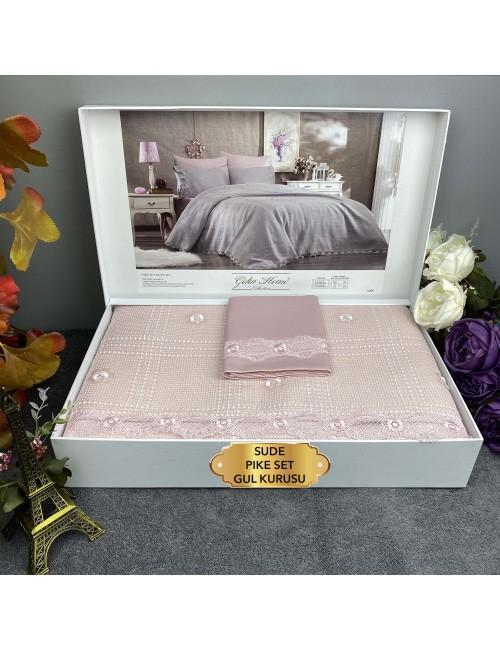 Sude Gul kurusu Gelin Home | Набор с покрывалом 2-спальный Сатин Делюкс из 6-ти предметов