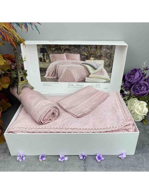 Emirgan Gul Kurusu pike Gelin Home | Набор с покрывалом 2-спальный Сатин Делюкс из 4-x предметов