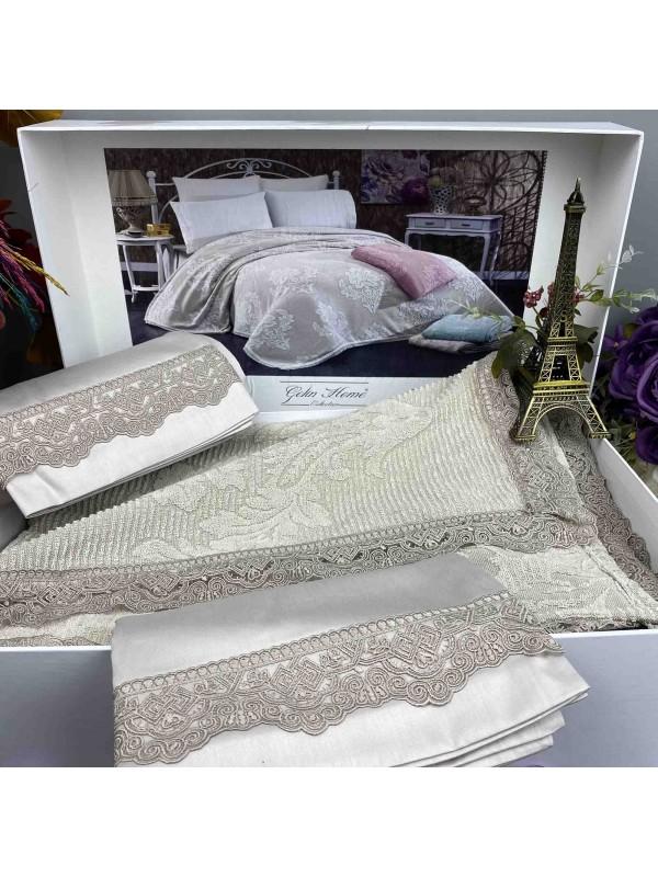 Damask Tas pike Gelin Home | Набор с покрывалом 2-спальный Сатин Делюкс из 4-x предметов