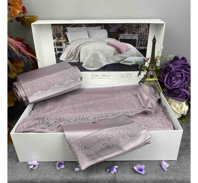 Damask Lila pike Gelin Home | Набор с покрывалом 2-спальный Сатин Делюкс из 4-x предметов