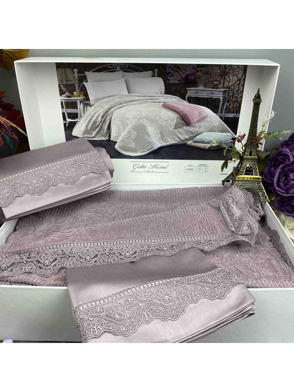 Damask Lila pike Gelin Home   Набор с покрывалом 2-спальный Сатин Делюкс из 4-x предметов