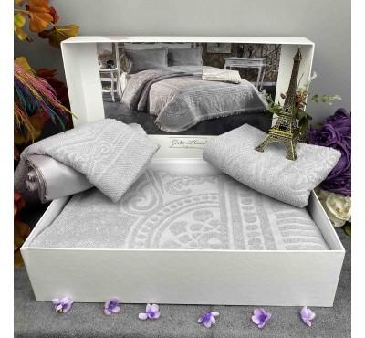 Pano Gri pike Gelin Home | Набор с покрывалом 2-спальный Сатин Делюкс из 4-x предметов