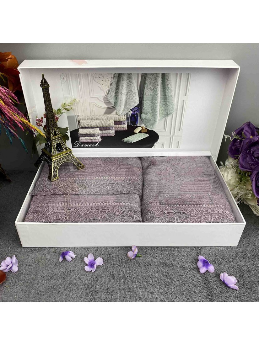 """Gelin home """"Damask Lila"""" / Набор из 3-х полотенец в подарочной коробке"""