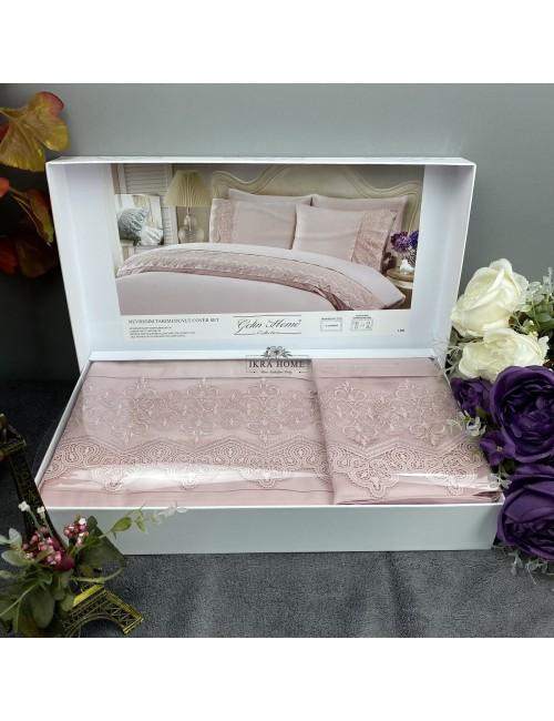 Gelin home deluxe saten  - Liya gul Двуспальное постельное белье с гипюровой отделкой -2021