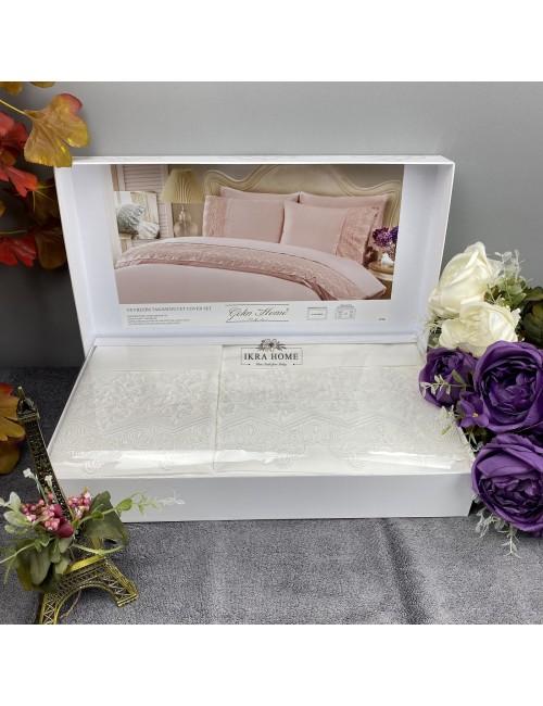 Gelin home deluxe saten  - Liya krem Двуспальное постельное белье с гипюровой отделкой -2021