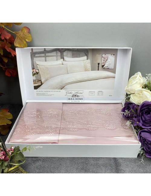 Gelin home deluxe saten  - Gulru gul Двуспальное постельное белье с гипюровой отделкой -2021