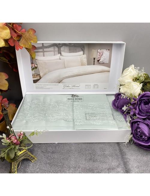 Gelin home deluxe saten  - Gulru mint Двуспальное постельное белье с гипюровой отделкой -2021