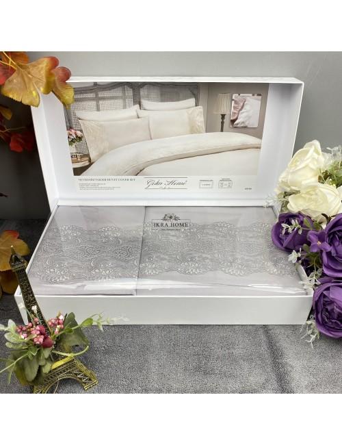 Gelin home deluxe saten  - Gulru gri Двуспальное постельное белье с гипюровой отделкой -2021