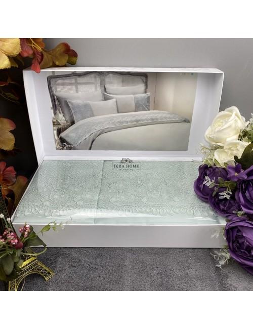 Gelin home deluxe saten  - Berre mint Двуспальное постельное белье с гипюровой отделкой -2021