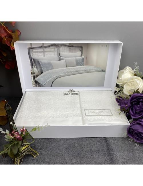 Gelin home deluxe saten  - Berre krem Двуспальное постельное белье с гипюровой отделкой -2021