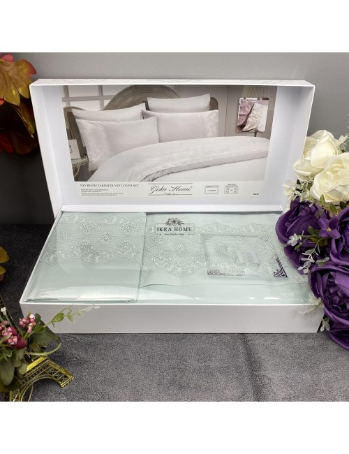 Gelin home deluxe saten  - Pelin mint Двуспальное постельное белье с гипюровой отделкой -2021