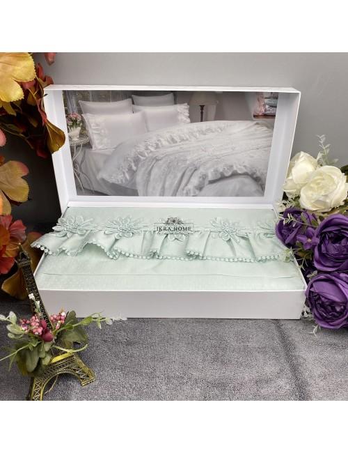 Gelin home deluxe saten  - Peri kizi mint Двуспальное постельное белье с гипюровой отделкой -2021