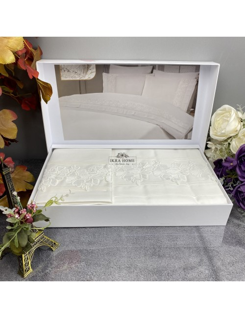 Gelin home deluxe saten  - Sultan krem Двуспальное постельное белье с гипюровой отделкой -2021