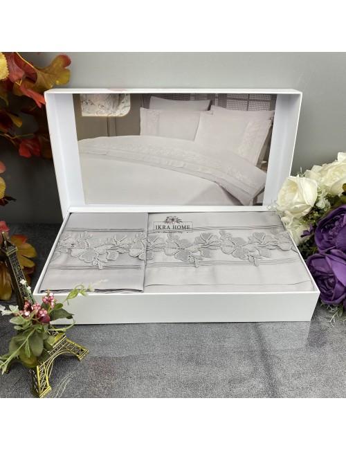 Gelin home deluxe saten  - Sultan gri Двуспальное постельное белье с гипюровой отделкой -2021