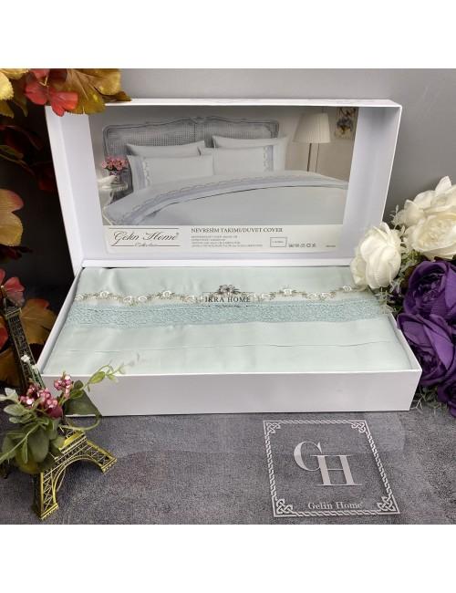 Gelin home deluxe saten  - Mimoza mint Двуспальное постельное белье с гипюровой отделкой -2021