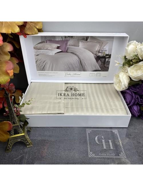Florida Tas Gelin home | Двуспальное постельное белье жаккард страйп сатин делюкс с вышивкой  - 2021