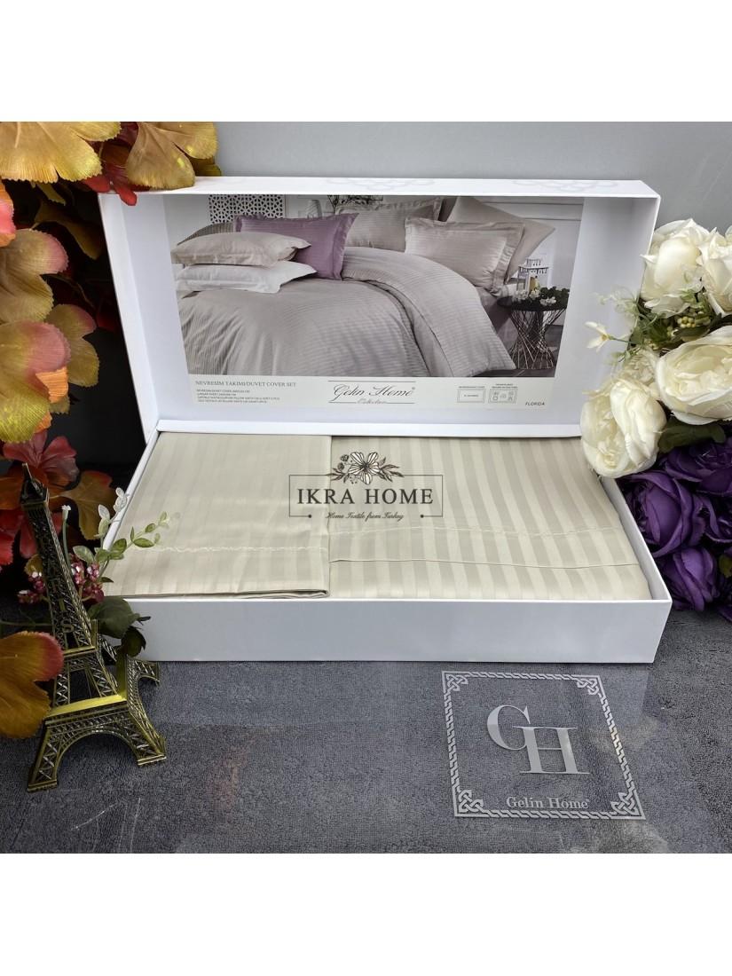 Florida Tas Gelin home   Двуспальное постельное белье жаккард страйп сатин делюкс с вышивкой  - 2021