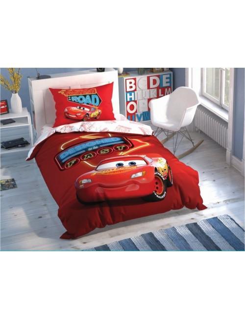 TAC Disney / Cars Shiny Road Лицензионные Комплекты детского постельного белья с героями из мультиков Ранфорс