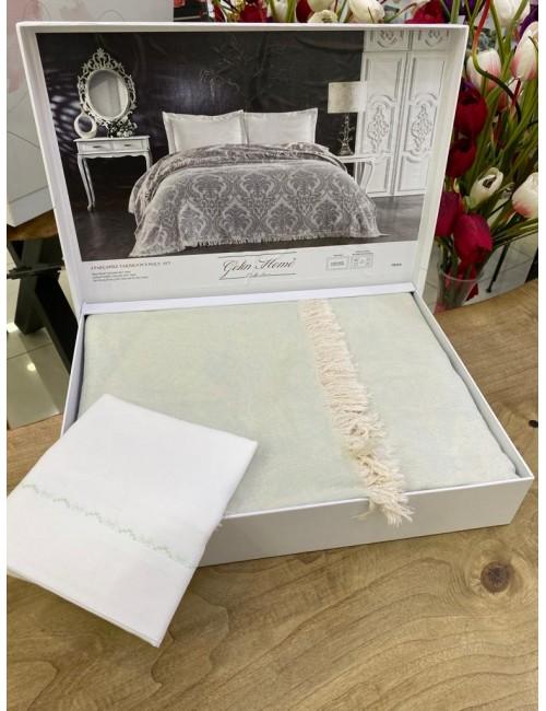 GELIN HOME TRUVA MINT | Комплект постельного белья с покрывалом/пике