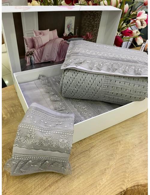 """Gelin home """"Ajurlu Triko"""" GRI / Комплект постельного белья с вязаным покрывалом"""