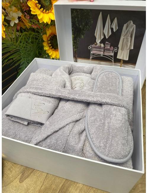 GELIN HOME LISA GRI / Подарочный банный набор Soft cotton (халат с полотенцами) Размер L/XL