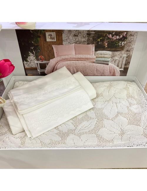 Yaprak KREM pike Gelin Home | Набор с покрывалом 2-спальный Сатин Делюкс из 4-x предметов