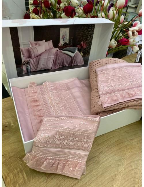 """Gelin home """"Ajurlu Triko"""" GUL KURUSU / Комплект постельного белья с вязаным покрывалом"""