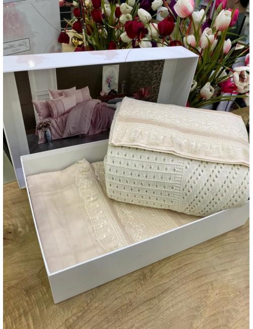 """Gelin home """"Ajurlu Triko"""" SAMPANYA / Комплект постельного белья с вязаным покрывалом"""