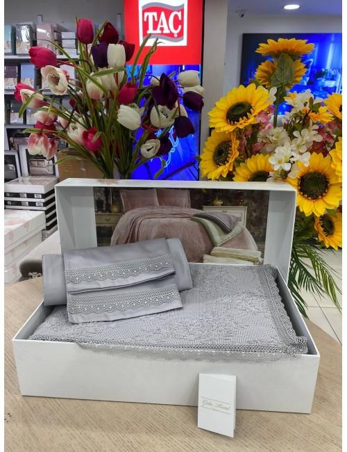 EMİRGAN  GRİ pike Gelin Home   Набор с покрывалом 2-спальный Сатин Делюкс из 4-x предметов