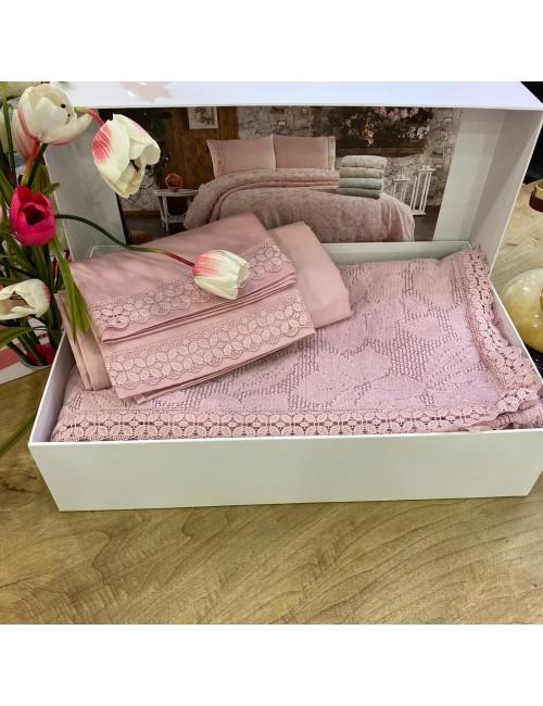 Yaprak GUL KURUSU pike Gelin Home | Набор с покрывалом 2-спальный Сатин Делюкс из 4-x предметов
